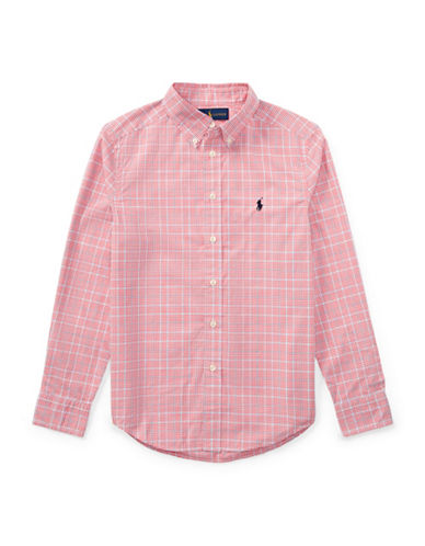 Ralph Lauren Childrenswear Grid Cotton Sport Shirt-RED-10-12