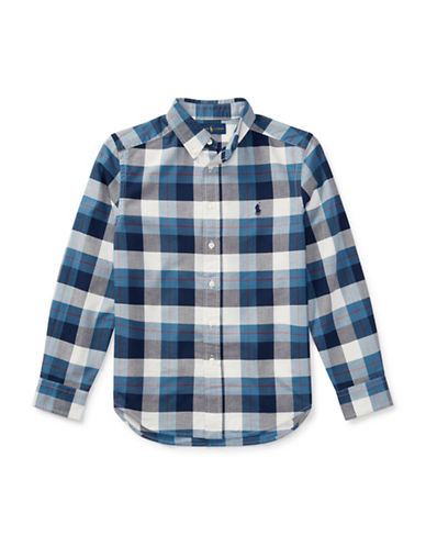 Ralph Lauren Childrenswear Tartan Cotton Sport Shirt-BLUE-10-12