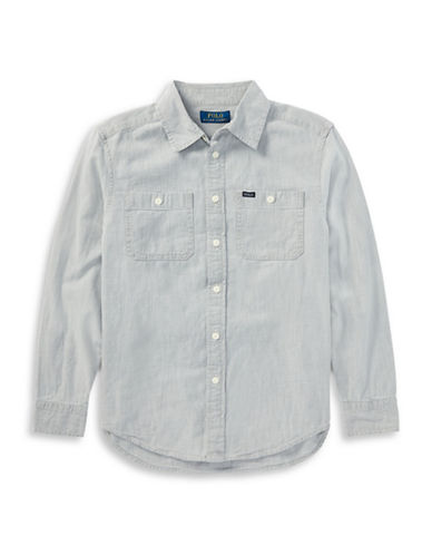 Ralph Lauren Childrenswear Cotton Chambray Sport Shirt-GREY-12-14