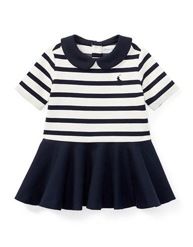 Ralph Lauren Childrenswear Pleated Striped Ponte Dress-NATURAL-12 Months