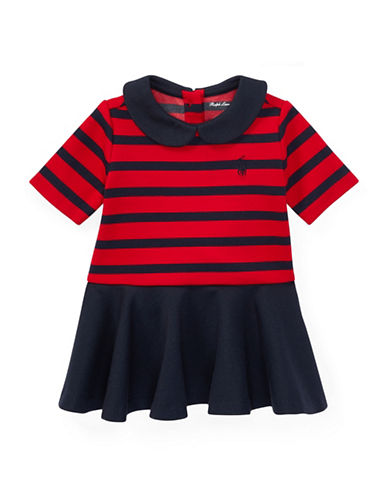 Ralph Lauren Childrenswear Pleated Striped Ponte Dress-RED-18 Months
