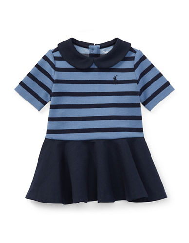 Ralph Lauren Childrenswear Pleated Striped Ponte Dress-BLUE-6 Months
