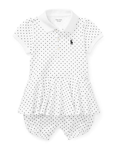 Ralph Lauren Childrenswear Polka-Dot Cotton Polo Romper-WHITE-3 Months