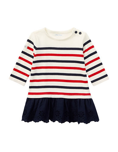 Ralph Lauren Childrenswear Striped Cotton Jersey Dress-NATURAL-18 Months
