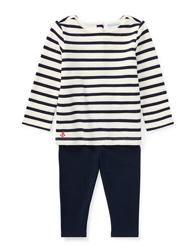 Ralph Lauren Childrenswear Two-Piece Nautical Top & Leggings Set-NATURAL-6 Months