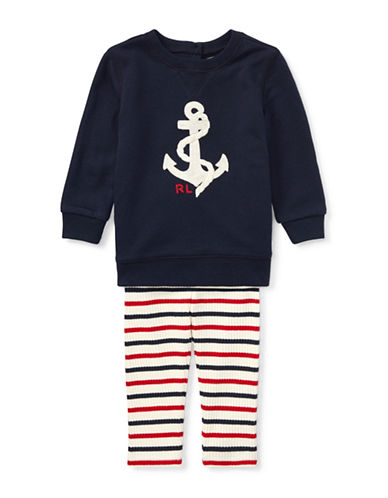 Ralph Lauren Childrenswear Two-Piece Anchor Top and Leggings Set-BLUE-24 Months