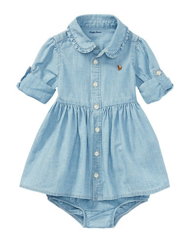 Ralph Lauren Childrenswear Two-Piece Cotton Chambray Shirtdress and Bloomers Set-BLUE-3 Months