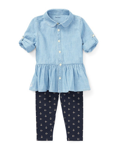 Ralph Lauren Childrenswear Two-Piece Chambray Cotton Top and Leggings Set-BLUE-24 Months