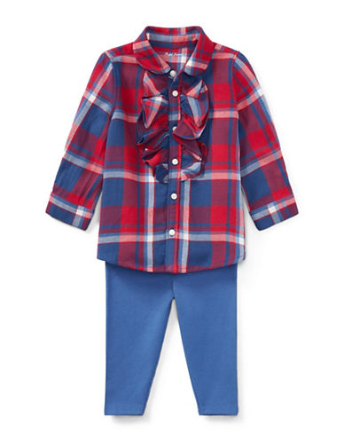 Ralph Lauren Childrenswear Two-Piece Cotton Plaid Top and Leggings Set-RED-6 Months