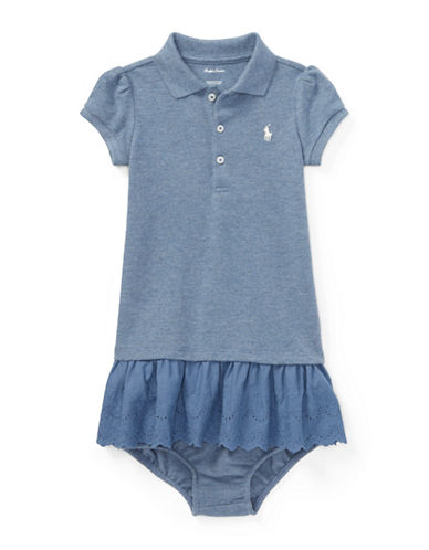 Ralph Lauren Childrenswear Two-Piece Polo Dress and Bloomers Set-BLUE-3 Months