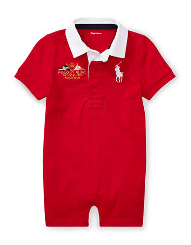 Ralph Lauren Childrenswear Jersey Rugby Cotton Shortall-RED-12 Months