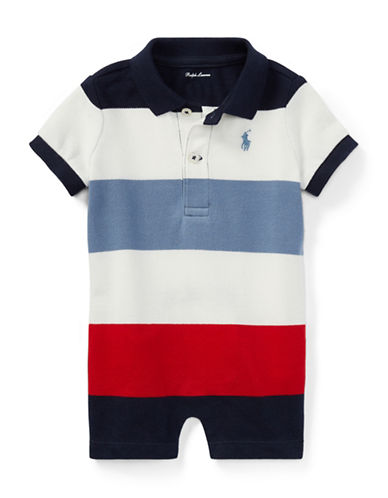 Ralph Lauren Childrenswear Striped Cotton Polo Shortall-BLUE-12 Months