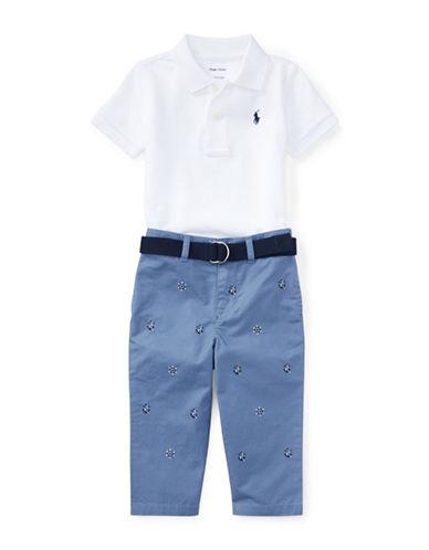 Ralph Lauren Childrenswear Three-Piece Cotton Polo, Belt & Chino Pants Set-WHITE-18 Months