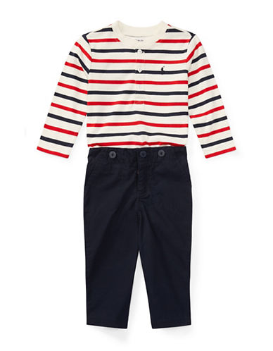 Ralph Lauren Childrenswear Two-Piece Cotton Henley & Pants Set-NATURAL-12 Months
