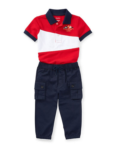 Ralph Lauren Childrenswear Two-Piece Cotton Polo and Jogger Pants Set-RED-3 Months