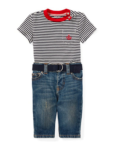 Ralph Lauren Childrenswear Three-Piece Cotton Tee, Belt & Jeans Set-MULTI-12 Months