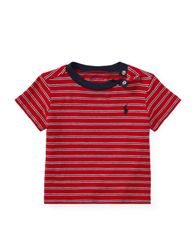 Ralph Lauren Childrenswear Striped Cotton Jersey Tee-RED-12 Months