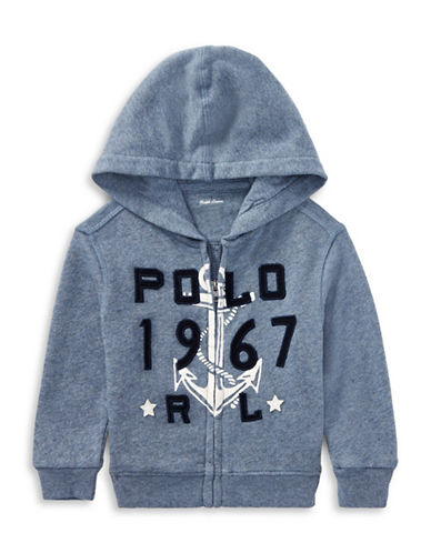 Ralph Lauren Childrenswear Cotton-Blend Terry Hoodie-BLUE-3 Months