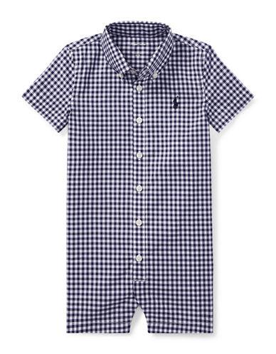 Ralph Lauren Childrenswear Gingham Cotton Shortall-BLUE-9 Months