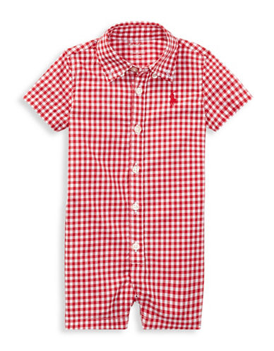 Ralph Lauren Childrenswear Gingham Cotton Shortall-RED-24 Months