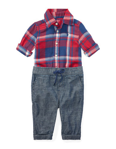Ralph Lauren Childrenswear Two-Piece Plaid Collared Shirt and Chambray Pants Set-RED-18 Months