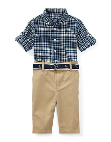 Ralph Lauren Childrenswear Three-Piece Plaid Cotton Shirt, Pants & Belt Set-BLUE-18 Months