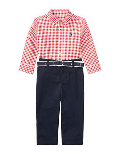 Ralph Lauren Childrenswear Three-Piece Gingham Cotton Shirt, Pants & Belt Set-RED-18 Months
