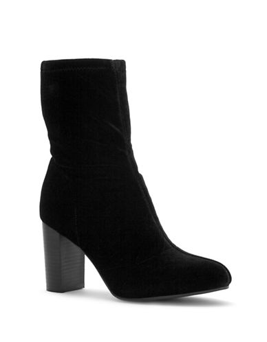 Vince Camuto Sendra Velvet Ankle Sock Boots-BLACK-6.5