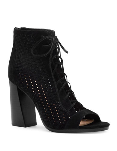 Vince Camuto Kevina Woven Suede Lace-Up Shooties-BLACK-8