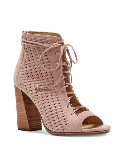 Vince Camuto Kevina Woven Suede Lace-Up Shooties-TAUPE-10