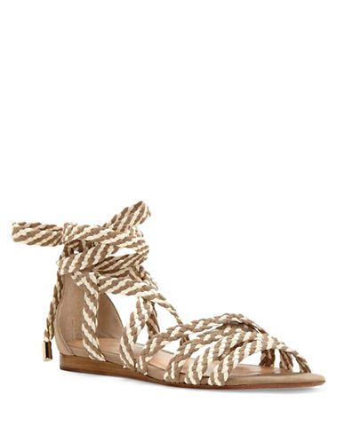 Vince Camuto Faith Leather Flat Sandals-TAN-8