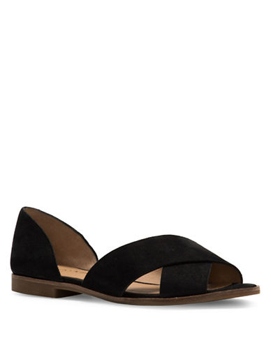 Lucky Brand Gallah Leather Flat Sandals-BLACK-8