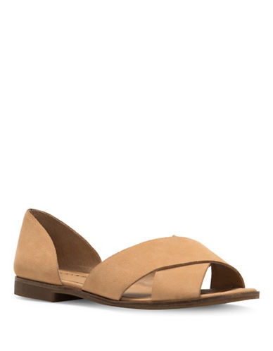 Lucky Brand Gallah Leather Flat Sandals-BROWN-9.5