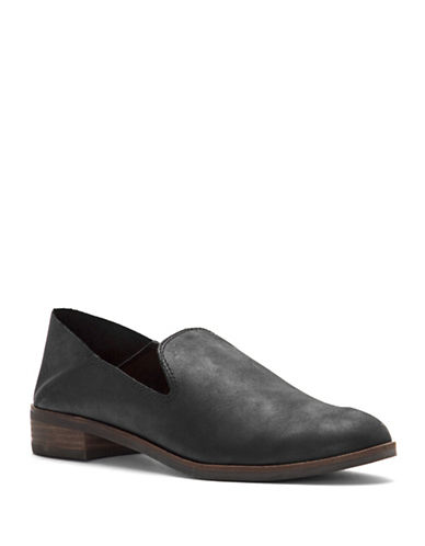 Lucky Brand Leather Loafers-BLACK-9