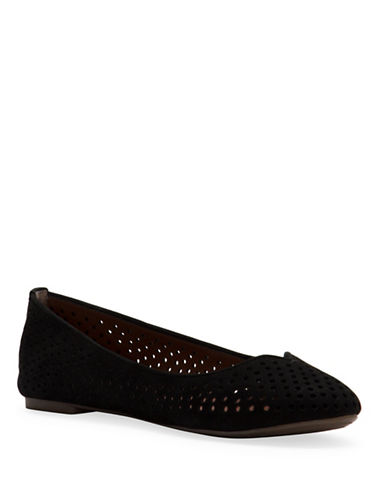 Lucky Brand Enorahh Leather Perforated Ballet Flats-BLACK-8.5