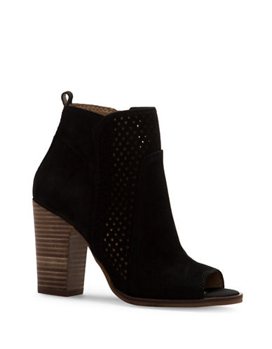 Lucky Brand Lakmeh Perforated Ankle Boots-BLACK-7.5