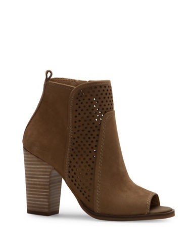 Lucky Brand Lakmeh Perforated Ankle Boots-BROWN-9