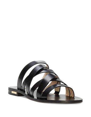 Louise Et Cie Braelynn Strappy Leather Slide Sandals-BLACK-6.5