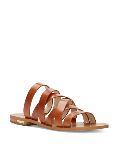 Louise Et Cie Braelynn Strappy Leather Slide Sandals-BROWN-9