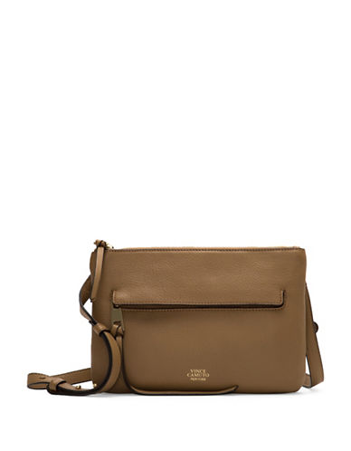 Vince Camuto Gally Leather Crossbody Bag-LIGHT BROWN-One Size