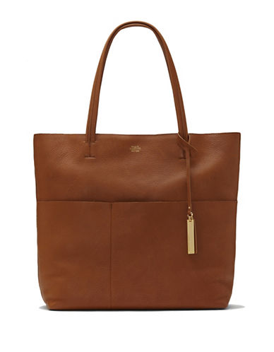 Vince Camuto Risa Leather Tote-BROWN-One Size
