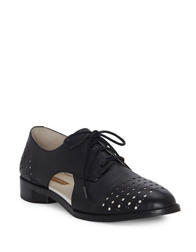 Louise Et Cie Almond Toe Leather Oxford-BLACK-6.5