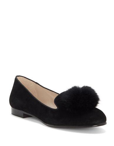 Louise Et Cie Andres Suede Fox Fur Ballet Flats-BLACK-6.5
