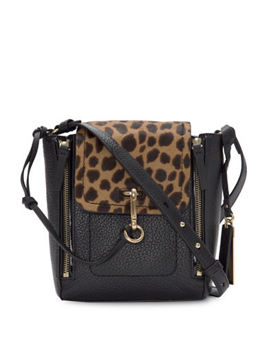 Vince Camuto Blena Leopard Flap Crossbody Bag-BLACK-One Size