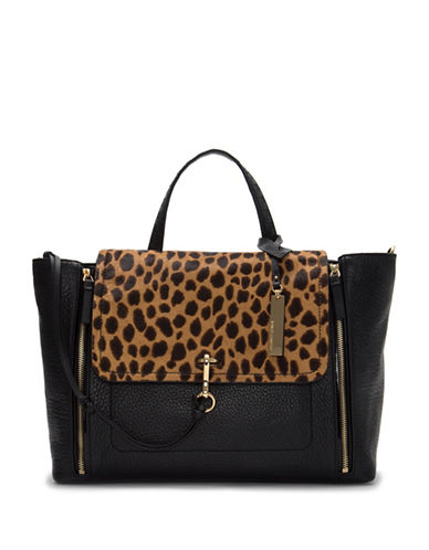 Vince Camuto Blena Leopard Flap Tote-BLACK-One Size