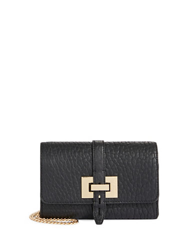 Vince Camuto Chain-Link Leather Crossbody-BLACK-One Size