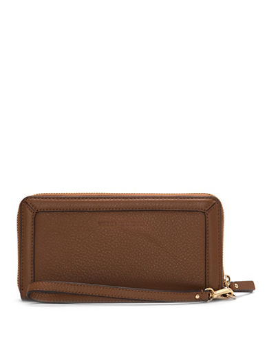 Vince Camuto Greva Leather Zip-Around Wallet-BROWN-One Size