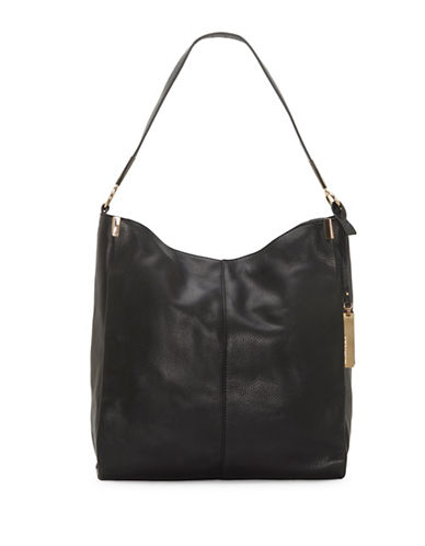 Vince Camuto Rosen Leather Hobo Bag-BLACK-One Size