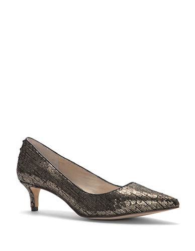 Louise Et Cie Jacoba Point Toe Leather Pumps-PEWTER-7.5