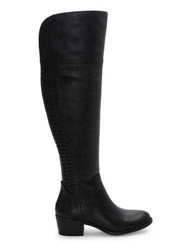 Vince Camuto Brilley Wide Calf Leather Boots-BLACK-8.5